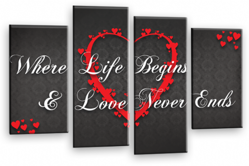 Love Heart Wall Art Picture Print Life Quote Grey White Red